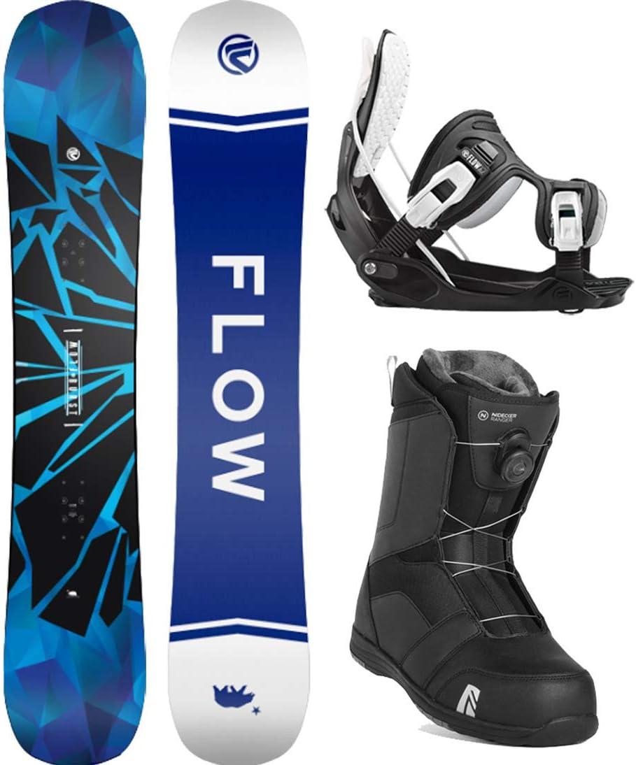 Flow 2021 Burst 152 Mens Complete Snowboard Package Bindings Nidecker BOA Boots