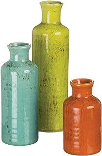 Sullivans Small Ceramic Vase Set, Rustic Home Décor, Set of 3 Vases, Multi-Color (CM2334)