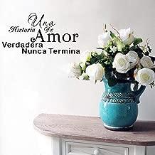 Tonaes Vinly Art Decal Words Quotes UNA Historia De Amor Verdadera Nunca Termina Spanish Love Story QuoteHome Decor Sticker