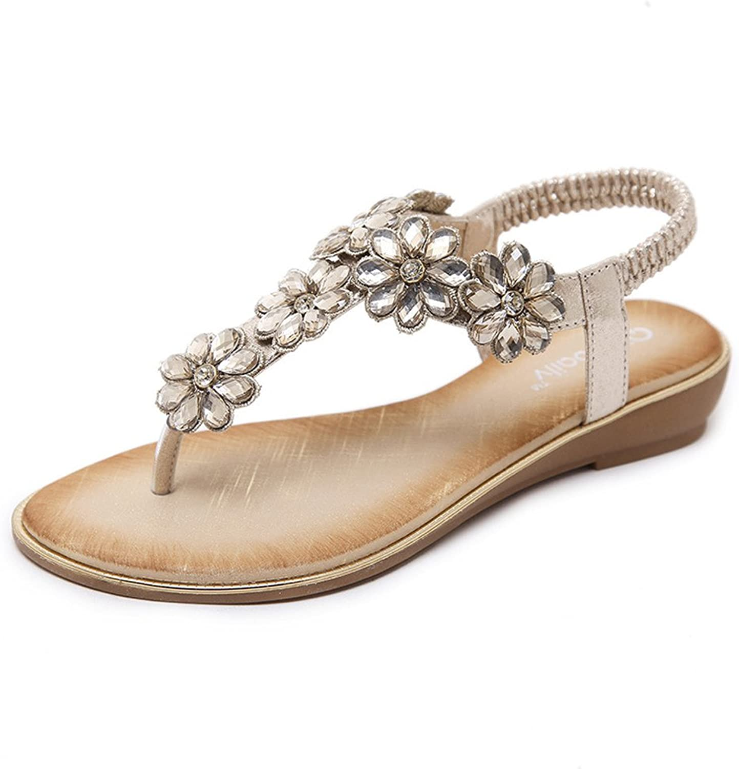 Navoku Women's Leather Fashion Floral Thong Sandals Sandles