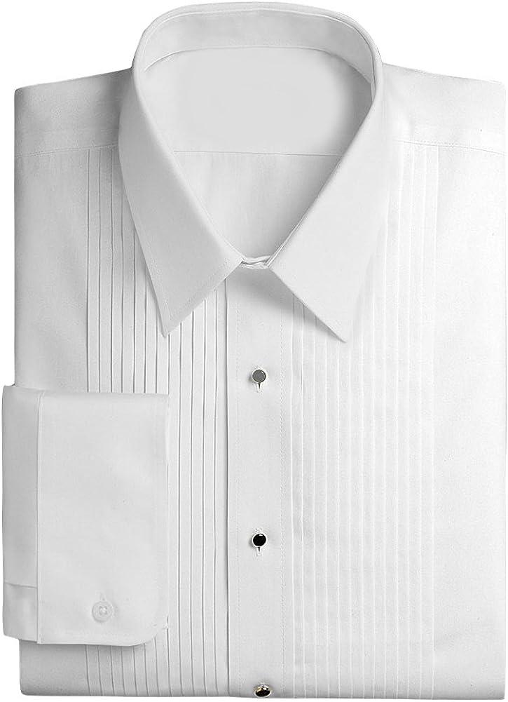Classix 6X Big and Tall Laydown Collar Luxury Tuxedo Formal Shirt with 1/4 inch Pleat