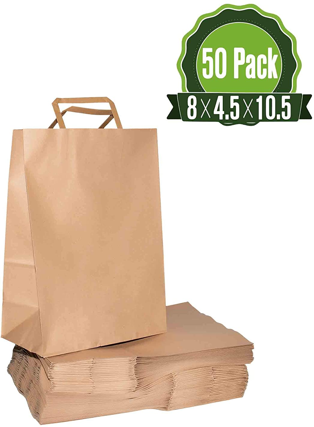 Kraft Paper Gift Bags Bulk with Handles 50Pc [ Ideal for Shopping, Packaging, Retail, Party, Craft, Gifts, Wedding, Recycled, Business, Goody and Merchandise Bag]