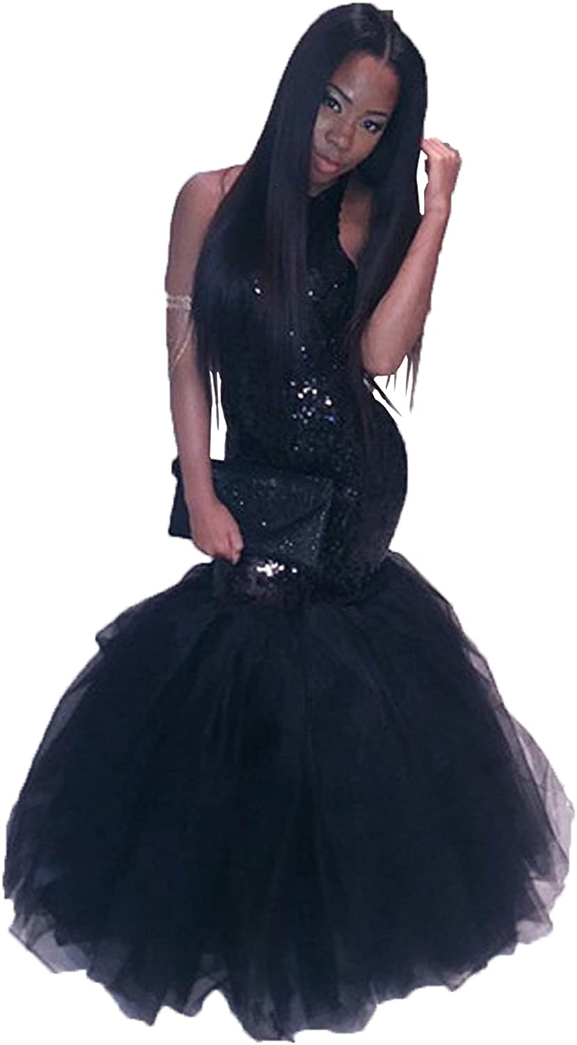 Wdress Pom Dresses Black Mermaid Halter Shiny Sequin Formal Party Evening Gowns