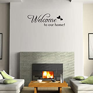 BIBITIME Double Hearts Sayings Welcome to our home Door Sign Sticker Letters Wall Decal for Living Room Porch Garden Front Door Nursery Window Kids Room Decor