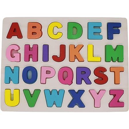 KanCai Alphabet Puzzle en Bois ABC Lettres Apprendre Les Lettres Jouet éducatif pour Les Tout-Petits et Les Enfants (Alphabet Puzzle)