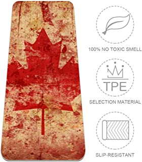 TIKISMILE Vintage Canada Flag Extra Large Yoga Mat Eco Friendly High Density Anti-Tear 72'' x 24'' Thickness 1/4-Inch Non-Slip Fitness Mat for Pilates, Meditation, Floor & Exercises Mat
