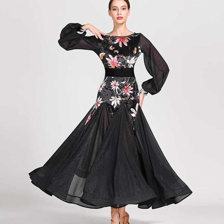QMKJ Women's Sequins Mesh Lyrical Latin Ballet Dance Dress Evening Cocktail Party Club Fringes Necklace Dress black large sizeXL 2XL