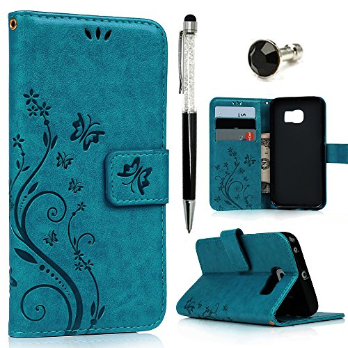 Galaxy S6 Edge Case - Mavis's Diary Premium Wallet PU Leather Fashion Embossed Floral Flip Folio Cover for Samsung Galaxy S6 Edge with Card Holders Hand Strap & Crystal Pen & Dust Plug - Blue