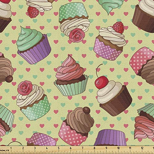 Ambesonne Coffee Fabric by The Yard Coffee Shop Bakery Inspired Tasty Cupcake Pattern on a Polka product image