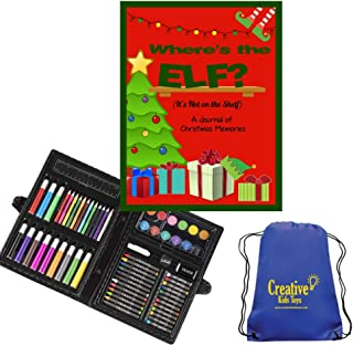 Where's The Elf? It's Not on The Shelf Christmas Art Journal Kids Drawing Kit (Elf Red)