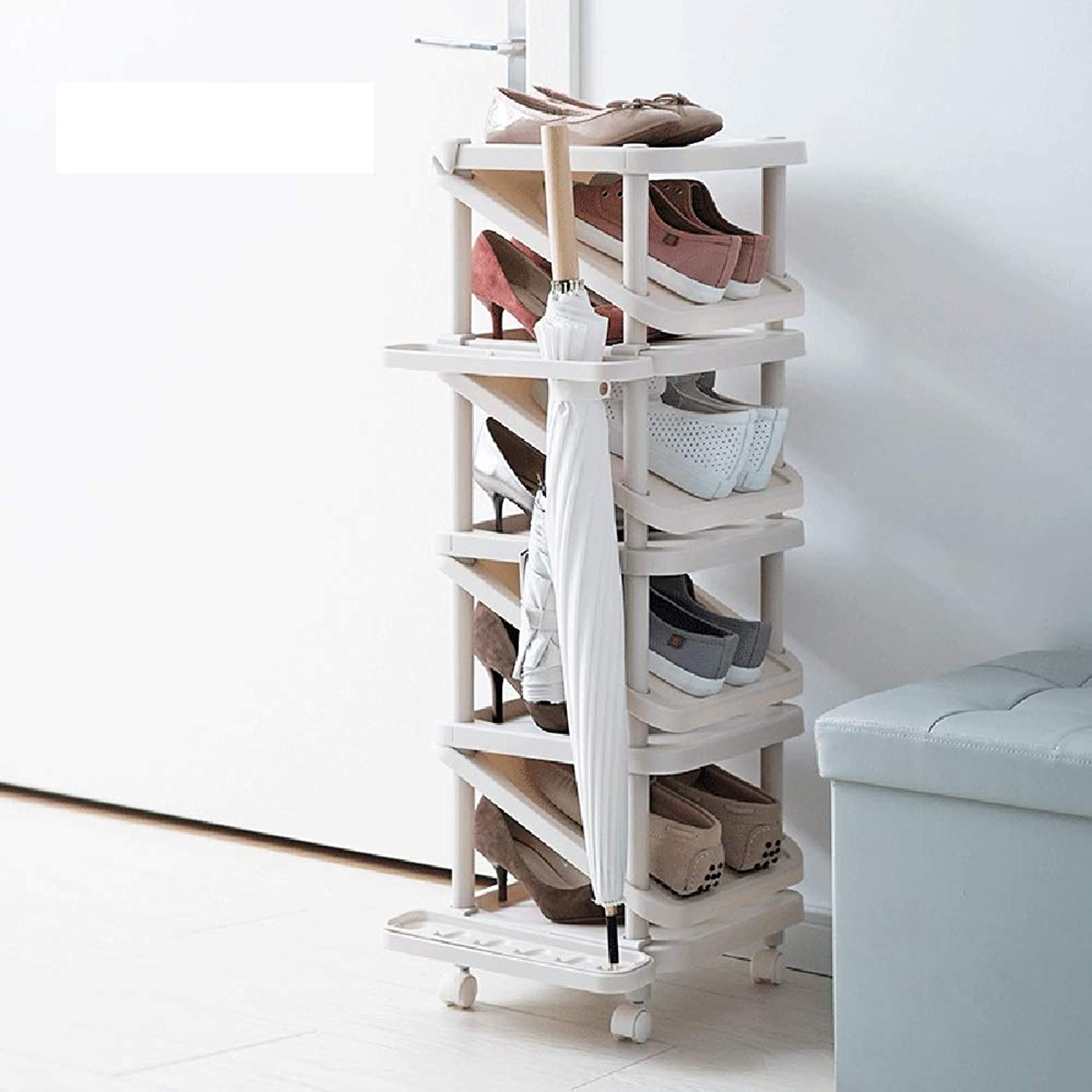 Umbrella Stand, Plastic Two-Way shoes Rack with Umbrella Stand Door Finishing shoes Storage Shelf Porch Shelf Beige