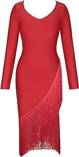 UONBOX Women's Long Sleeve Off Shoulder Bandage Dress Tassel Fringed Evening Midi Bodycon Dress