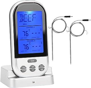 SZHWLKJ Trådlös köttermometer dubbel sond dubbel digital temperaturmätare fjärrkontroll matlagning för ugn rökare BBQ