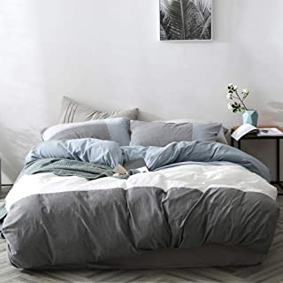 Patchwork Duvet Cover Queen Stripe Women Bed Comforter Cover Queen for Teens Girls Bedding Covers Luxury 3PCS Duvet Cover with 2 Pillow Cases Adults Blue Bed Cover Set with 4 Corner Ties, No Comforter