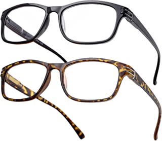 2 Pack Black & Tortoise Reading Glasses- Timeless Look, Crystal Clear Vision, Spring Hinge Arms, Gift Box Package (+1.75x)