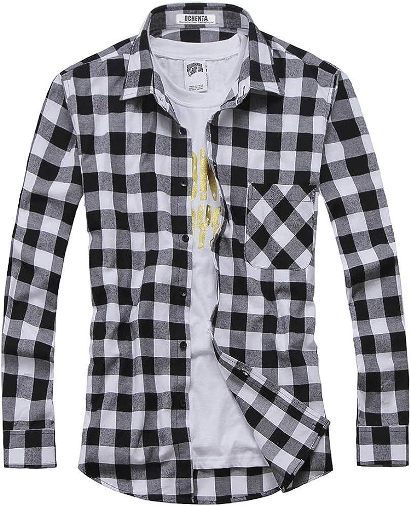 OCHENTA Men's Long Sleeve Button Down Plaid Flannel Shirt