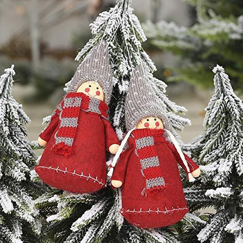Anliyou Weihnachtsanhänger Puppe mit Bärte und Mütze Weihnachtsmann Filzdeko Christbaumanhänger Weihnachtsbaumschmuck Weihnachtsdeko mit Hanfseil Weihnachtsdekoration