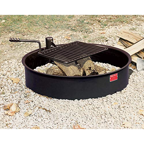 Pilot Rock Steel Fire Ring with Cooking Grate - 32in. Diameter, Model Number FSW-30/7/TB