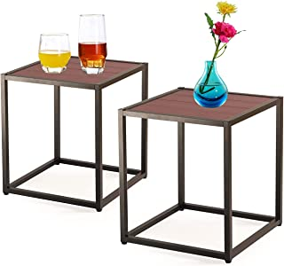 AMUV Patio Table, Outdoor Table Set of 2, Aluminum Outdoor Side Table, Waterproof Square Side Table, Courtyard Side Table,...