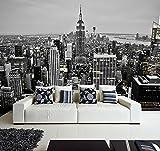 Fotomural Vinilo Pared Nueva York Blanco y Negro | Fotomural para Paredes | Mural | Vinilo Decorativo | Varias Medidas 150 x 100 cm | Decoración comedores, Salones, Habitaciones.