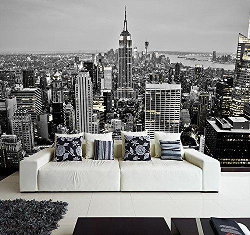 Fotomural Vinilo Pared Nueva York Blanco y Negro | Fotomural para Paredes | Mural | Vinilo Decorativo | Varias Medidas 100 x 70 cm | Decoración comedores, Salones, Habitaciones.