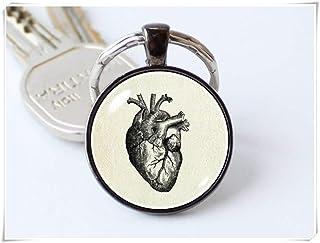 Llavero de corazón humano, llavero de corazón, regalo médico, llavero de anatomía, llavero de médicos, joyería de corazón