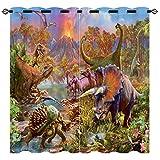 EiiChuang Dinosaur Curtains, Jurassic Animals Ancient Jungle Dinosaur Volcano Pattern Print Curtains, Waterproof Fabric, Kids Boys Bedroom Nursery Grommet Window Drapes, 2 Panels 42 x 45 Inch