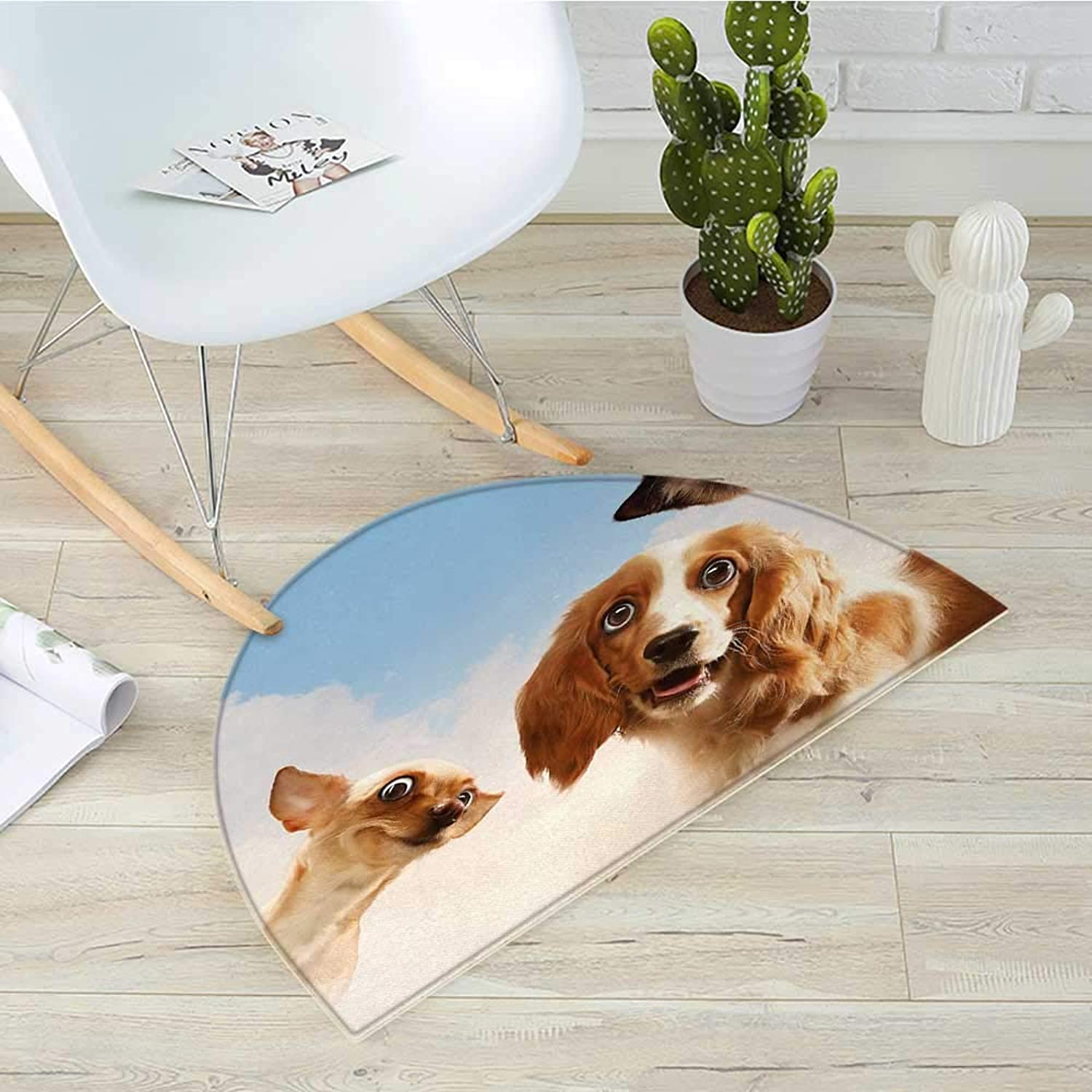 Funny Semicircle Doormat Cat and Dogs Domestic Home Pets Friends Cute Hilarious Expressions Sky Clouds Collage Halfmoon doormats H 35.4  xD 53.1  Multicolor