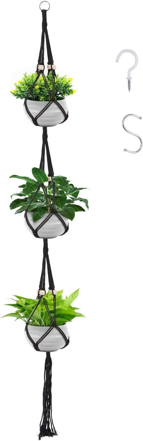 Sales for sale Gukasxi Regular store 3 Tier Macrame Plant Hang Indoor Hanger Outdoor