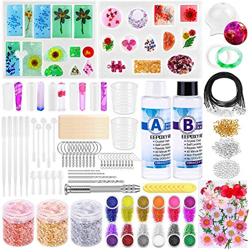219Pcs Resin Kit for Beginners, Thrilez Resin Mold Kit with Resin Molds Silicone and Epoxy Resin Supplies Include Dried Flowers, Foil Flakes, Necklace Cord, Earring Hooks for DIY Jewelry Making