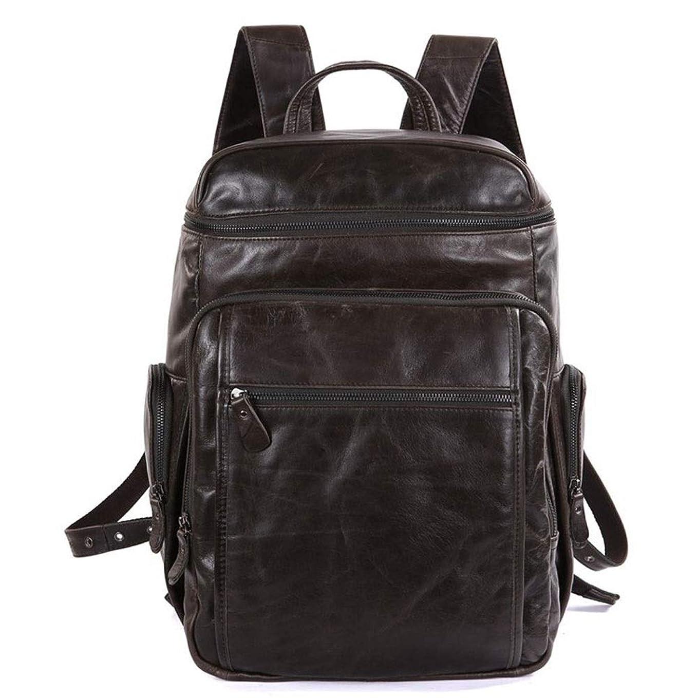 オゾンポップヨーグルトレトロクレイジーホース男性と女性のためのレザーバックパック、旅行ビジネスオフィスバッグ大容量学校レザーBookbag (Size : Dark brown)
