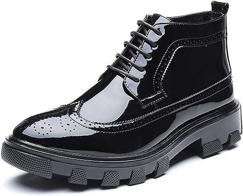 JIALUN-des Chaussures Bottines d'affaires pour Hommes Décontracté Mode Mode Anti-dérapant en Cuir Verni Boneheaded Brogue Majestueux Chaussures (Couleur   Noir, Taille   41 EU)  magasin en ligne