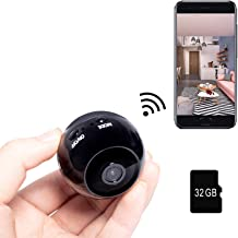 Mini Smart WiFi Camera 1080P (32G Memory Card Included) with Remote Control,Security Camera Baby Monitor,Portable Cam with...