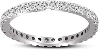 100% Real Diamond Ring Luxury Eternity Diamond Ring 5/8ct IGI Certified Lab Grown Diamond Engagement Rings For Women Lab Created Diamond SI-GH Quality 10K to 14K Real Diamond Band Ring (Jewelry Gifts)