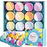 rosevale bath bombs gift set,12 large 5oz bubble bath fizzies, shea & coco butter dry skin
