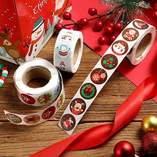 6 Rolls 3000 Pieces Christmas Stickers Round Adhesive Labels Xmas Decorative Stickers Christmas Stickers Labels Roll 1 Inch 48 Designs for Cards Envelopes Boxes Photo #7