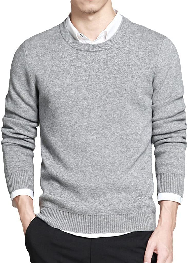 LYYQH Men Sweater Pullovers Autumn Cotton Basic Solid Slim Sweater Jumpers Spring Male Knitwear Jersey Man Clothing Plus Size (Color : Gray, Size : XL Code)