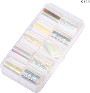 10 Design/Set 2.5100Cm Holographic Nail Art Transfer Foil Stickers Paper Starry Ab Color Uv Gel Wraps Nail Adhesive Decals,C144
