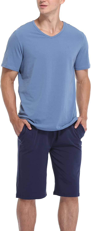 COLORFULLEAF Men's 100% Cotton Pajamas Set Button Down Sleepwear Short Sleeve Pj Shorts Sets