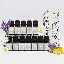 12 Essential Oil Set for Diffuser 100% Pure Plant Oil - Rose,Jasmine,Vetiver,Peppermint,Sandalwood,Chamomile,Tea Tree,Frankincense,Lavender,Cinnamon,Orange,Lemon