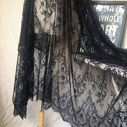 Ivory Lace Fabric Eyelash Chantilly Floral Bridal/Wedding Dress Flower African Lace Table Cloth DIY Crafts Scallop Trim Applique Ribbon Curtains 300cmx150cm ALE02 (Black)