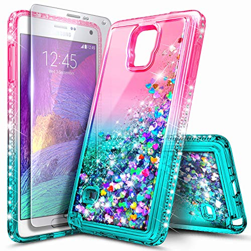 Galaxy Note 4 Case with Screen Protector for Girls Kids Women, NageBee Glitter Liquid Sparkle Bling Floating Quicksand Waterfall Diamond Cute Case for Samsung Galaxy Note 4 -Pink/Aqua