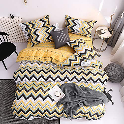 Michance Modischer Einfacher Bettbezug Im Europäischen Stil 4-Teiliges Set Waschbare...