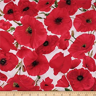Telio Bloom Stretch Cotton Sateen Poppy Fabric, Red, Fabric By The Yard