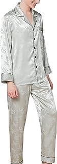 LZJDS Men's 100% Pure Silk Pajamas for Men Long Sleeve Pajamas Set with Buttons Loungewear Pajamas PJ Set 2Pc Nightwear,li...