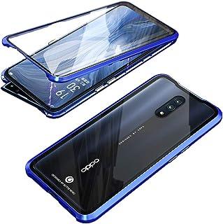 Hicaseer Oppo Reno Case, Transparent Glass Anti-scratch Magnetic Non-slip Protective Case for Oppo Reno -Blue