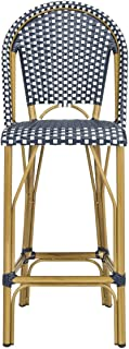 Safavieh PAT4008A Collection Ford Navy and White Indoor/Outdoor Stacking French Bistro Bar Stool