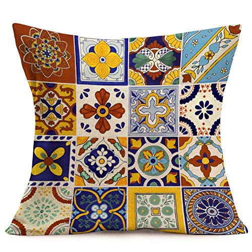 Fukeen Vintage Colorful Throw Pillow Covers Mexican Talavera Tiles Pattern Cotton Linen Pillow Cases Cushion Cover Standard 18x18 Inches Pillowcase (Mexican Tiles)