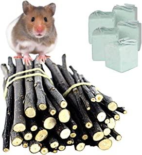 Hamiledyi Hamster Chew Toys Apple Chew Sticks and 5Pcs Mineral Stone for Chinchilla, Guinea Pigs, Hamsters, Rabbits, Parrots and Other Small Animals