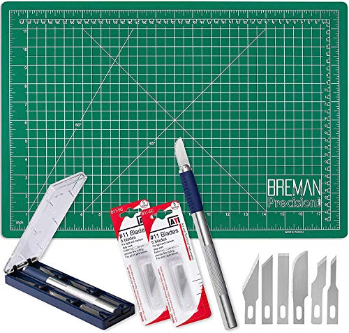WA Portman Cutting Mat and Hobby Knife Set - 12x18 Inch Craft Cutting Board - Self Healing Hobby Mat with 7 pc Craft Knife Set and 10 Replacement Blades Compatible with Xacto Knives - Quality Art Set